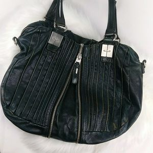 Tullah Ray Zip Split Green Leather Shoulder Bag
